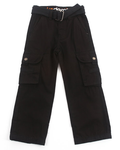 Akademiks - Boys Black Belted Cargo Pants (4-7)