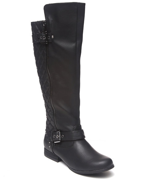 Not Rated - Women Black Uptown Quilted Back Side Zip Boot