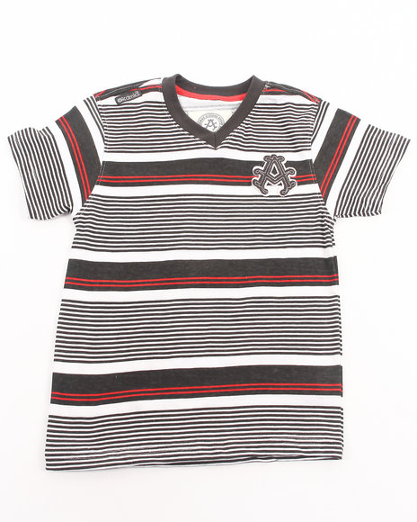 Akademiks - Boys Grey Striped V-Neck Tee (4-7) - $6.99