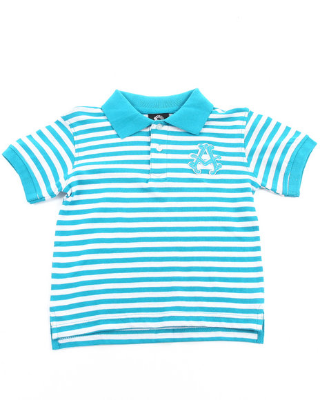 Akademiks - Boys Teal Striped Pique Polo (4-7)