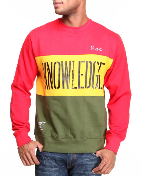 Rocawear Red L/S Gold Stripe Crewneck Sweatshirt