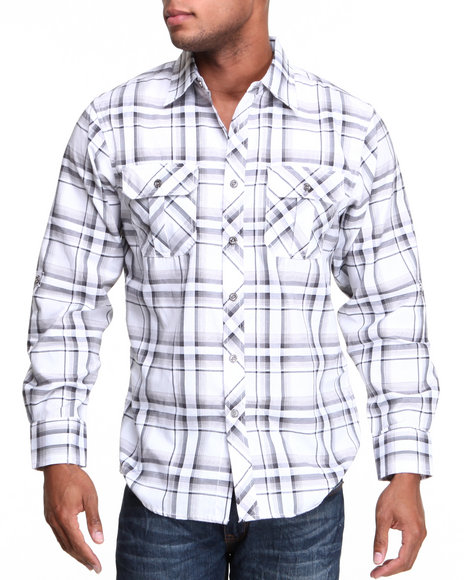 Basic Essentials - Men White Long Sleeve Plaid Woven Shirt