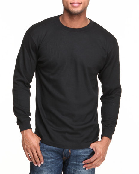 Basic Essentials - Men Black Heavy Long Sleeve Thermal Top