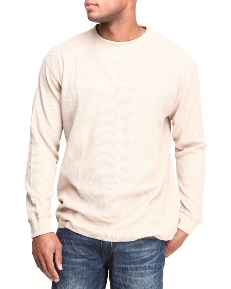 Basic Essentials - Men Khaki Heavy Long Sleeve Thermal Top - $16.99