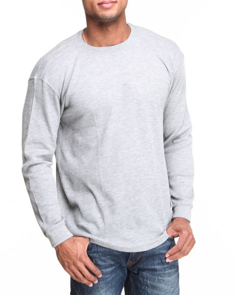 Basic Essentials - Men Grey Heavy Long Sleeve Thermal Top