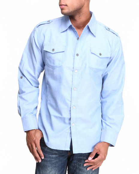Basic Essentials - Men Blue Oxford Woven Shirt