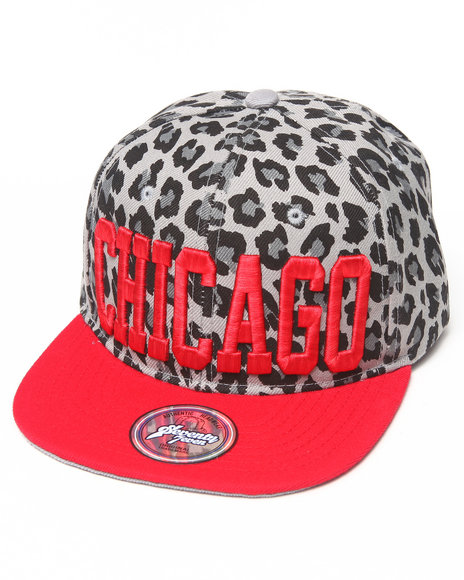 Buyers Picks Men Chicago Leopard Print Snapback Hat Grey