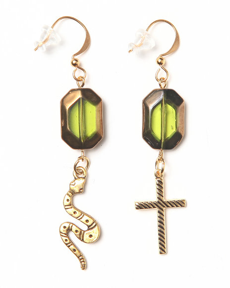 Uranium Olivine Cross And Snake Earrings Gold