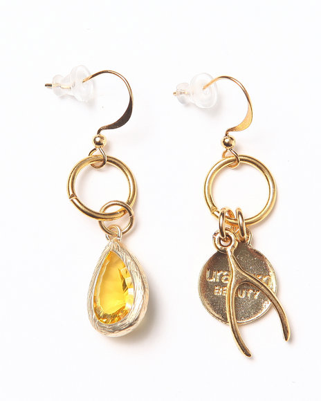 Uranium Citrine Earrings Gold