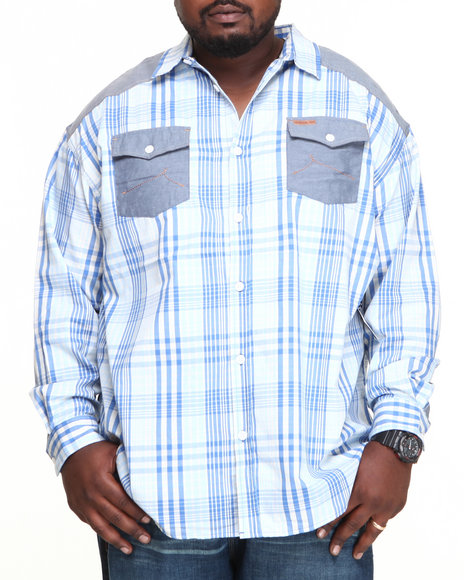 Rocawear Blue Chill L/S Button-Down (Big & Tall)
