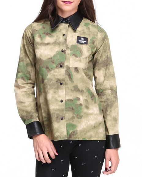 Crooks & Castles Camo Les Voleurs Ladies Woven W.Vegan Leather Sleeves And Collar