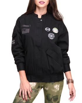 Crooks & Castles - Heroine Bomber Jacket w/scruntch bottom patches