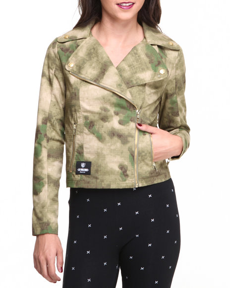 Crooks & Castles Camo Les Voleurs Motorcycle Jacket