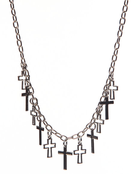 Uranium La Souris Cross Necklace Silver