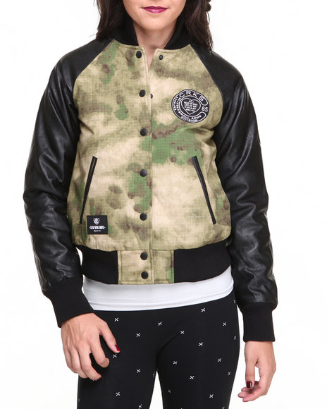 Crooks & Castles - Women Camo Woven Varsity Jacket