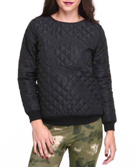 Crooks & Castles Black Long Sleeve Chain C Quilted Pullover
