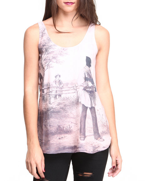 Crooks & Castles - Women Tan Masqued Woven Tank Top - $37.99