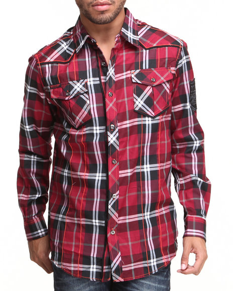 Mo7 - Men Maroon Mo7 Plaid Contrast Poplin Trim Button Down Shirt