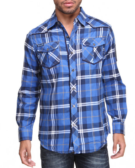 Mo7 - Men Blue Mo7 Plaid Contrast Poplin Trim Button Down Shirt