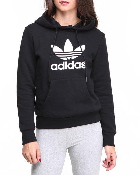 Adidas Women Trefoil Pullover Hoodie Black Large | Twiba