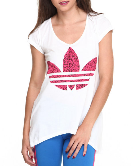 Adidas White Leopard Graphic Trefoil Tee