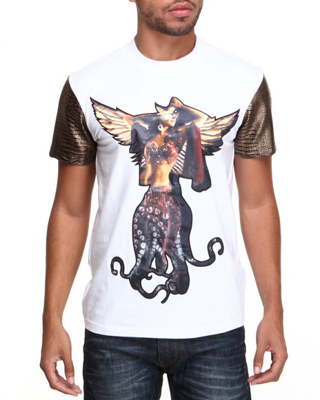 Double Needle - Men White Flying Octopus S/S Tee