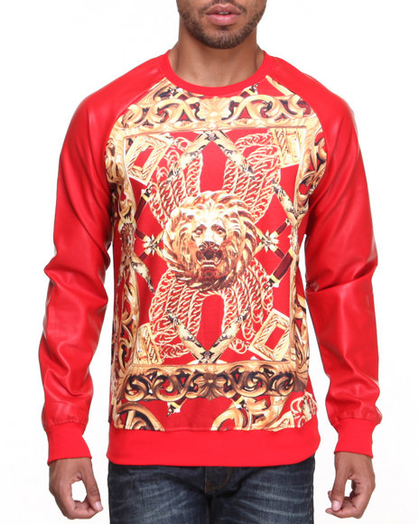 Double Needle - Men Red Goldenlion I I Crewneck Sweatshirt