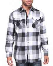 Shirts - Checker Poplin Trim Button Down Shirt