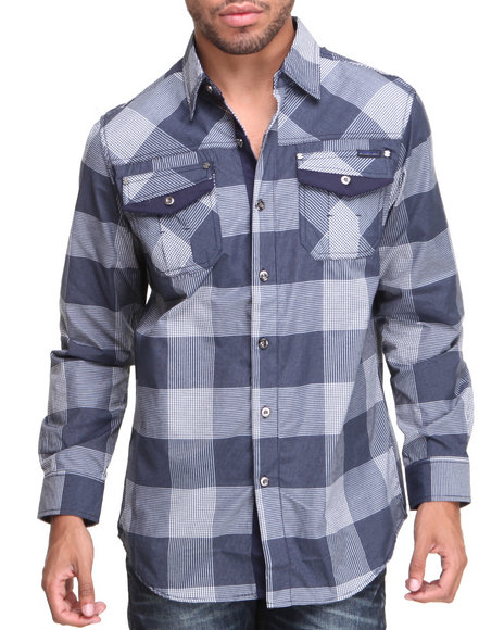 Mo7 - Men Navy Deep Plaid L/S Button Down Shirt