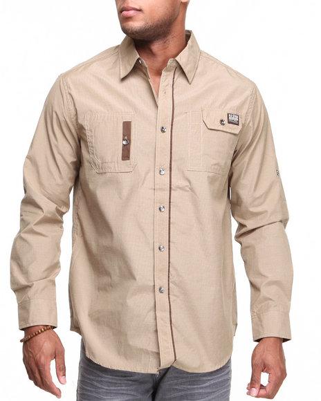 Mo7 - Men Khaki Roll-Up L/S Button Down Shirt