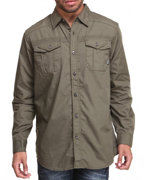 Mo7 - Men Olive Workman L/S Button Down Shirt