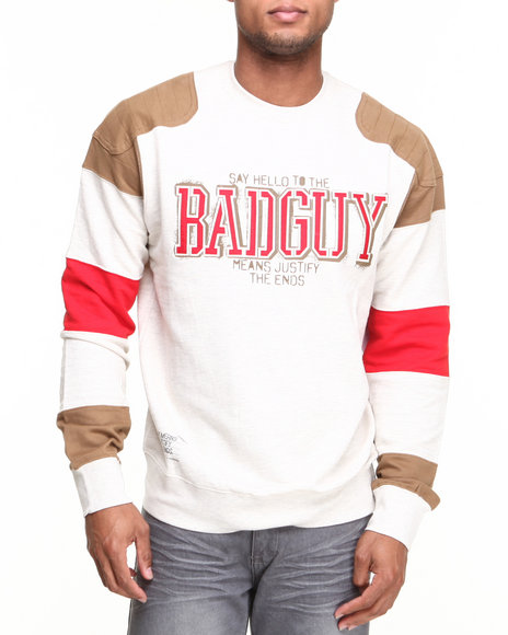 Rocawear - Men Off White L/S Bad Guy Crewneck Sweatshirt