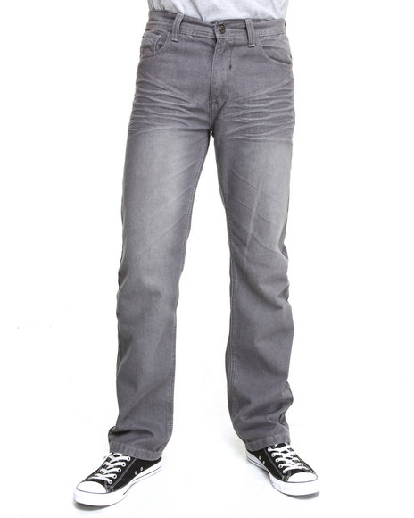 MO7 Grey Contrast Stitch Fashion Denim Jeans