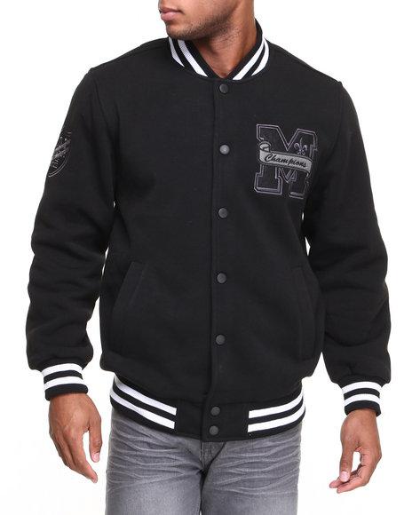 MO7 Black Mo7 All Black Fleece Varsity Jacket