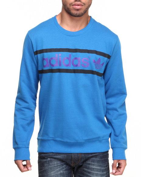 Adidas Men Heritage Logo Crewneck Sweatshirt Blue Small