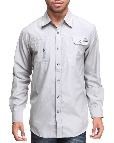 MO7 Grey Roll-Up L/S Button Down Shirt