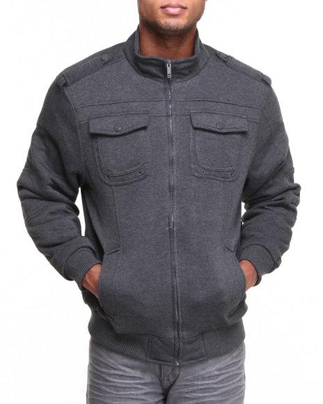 Basic Essentials - Men Charcoal Quilt Lined Fleece Jacket - $20.99