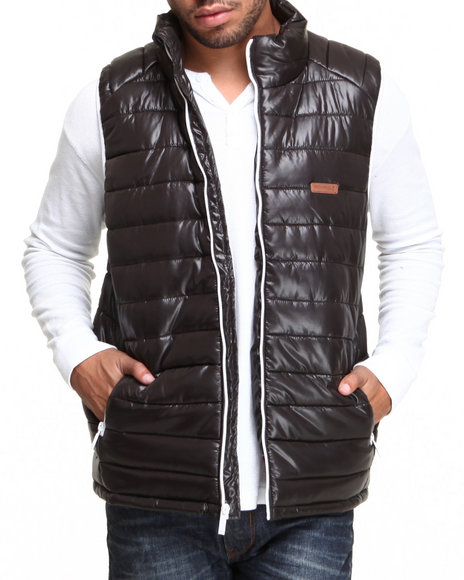 Mo7 - Men Black Mo7 Bubble Vest W/ Contrast Lining