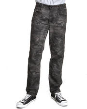 Men - Resin Finished Garment Dyed Camo Denim Jeans