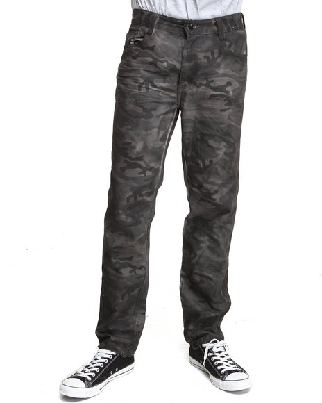 Mo7 - Men Camo Resin Finished Garment Dyed Camo Denim Jeans