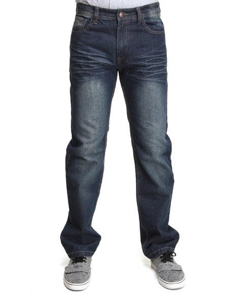MO7 Dark Indigo Contrast Stitch Fashion Denim Jeans