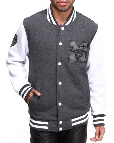 MO7 Grey Mo7 Charcoal/White Fleece Varsity Jacket