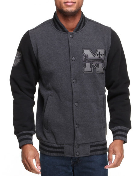 MO7 Charcoal Mo7 Charcoal/Black Fleece Varsity Jacket