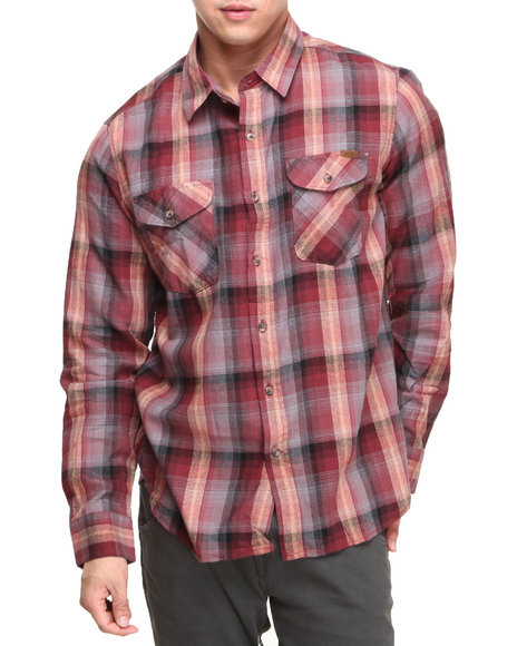 Volcom - Men Maroon Reed L/S Button-Down