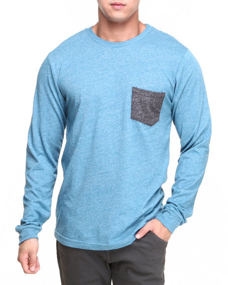 Volcom - Men Blue Solid Mock Twist Pocket L/S Tee