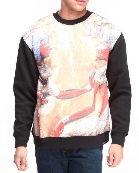 L.A.T.H.C. - Men Black Egyptian Gods Crewneck Fleece Sweatshirt
