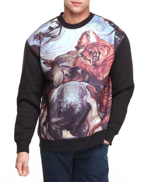 L.A.T.H.C. Black Tigar Battle Crewneck Fleece Sweatshirt