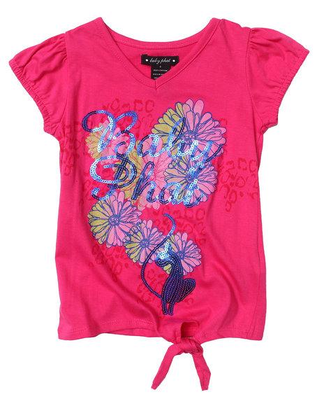 Baby Phat Girls Pink Floral Side Tie Tee (4-6X)