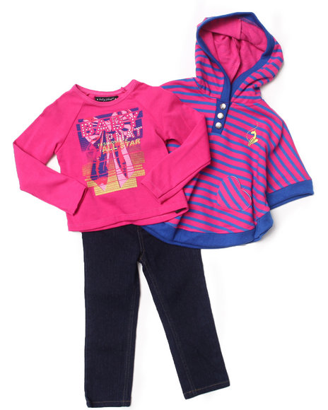 Baby Phat - Girls Pink 3 Pc Striped Cape Set (2T-4T)