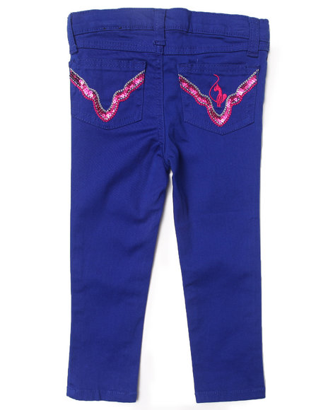 Baby Phat - Girls Blue Colored Twill Jeans (2T-4T)